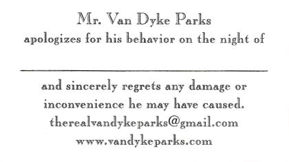 Mr. Van Dyke apologises...