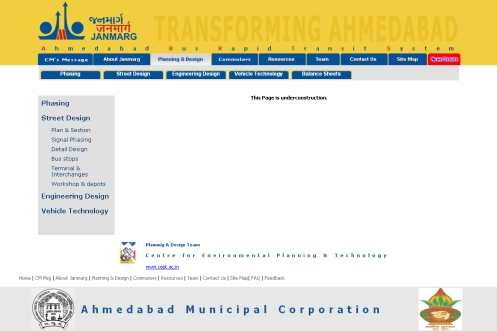 Bus Rapid Transit website, where CEPT CRDC are consultants