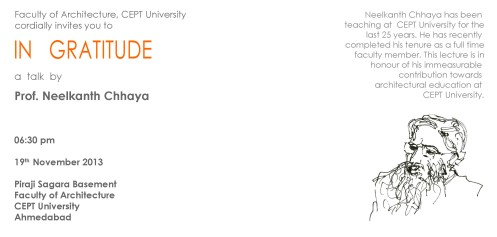 Invitation to Prof. Chhaya's talk at CEPT