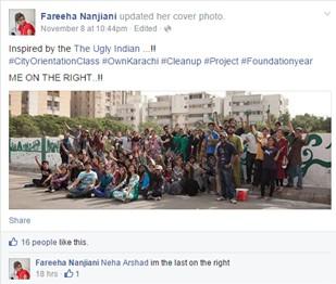 Indus Valley Clean Up Initiative-Fareeha Nanjiani Fb Post